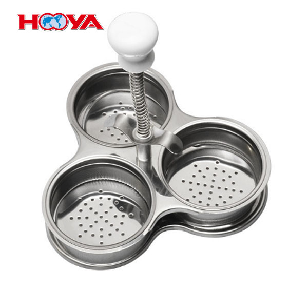 3 pcs old-fashioned stainless steel egg poacher egg cooking round compartment tray