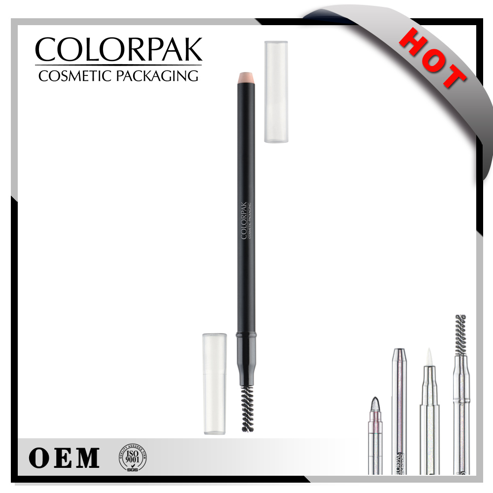 Permanent easy to sharpen empty sharpener eyeliner pencil package with brow brush