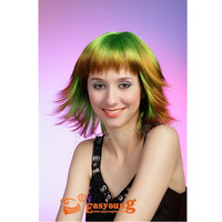 Fashion colorful synthetic green color party wigs plastic cosplay wigs