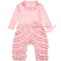 Newest Baby Girls Pale Pink Pima Cotton 'Peony' Romper With Flower G-NPRR912-4