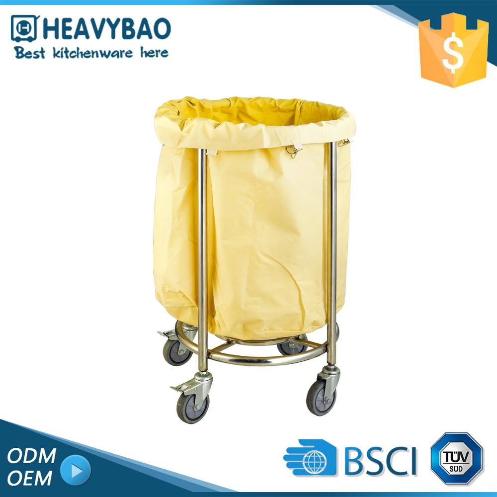 Stainless Steel Knocked-down Rolling Linen Hospital Cart Laundry Trolley