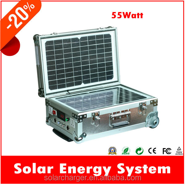 High Quality! 55W Portable Solar Kit with AC/DC Output for Home Use