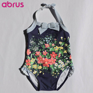 High Quality Kids Swimwear Halter One Piece Swimsuit UPF50+ Certified by CA Prop 65