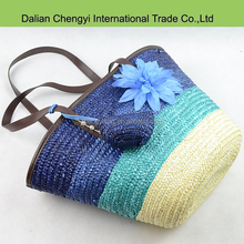 Hot selling unique colorful Gradient color straw beach bag