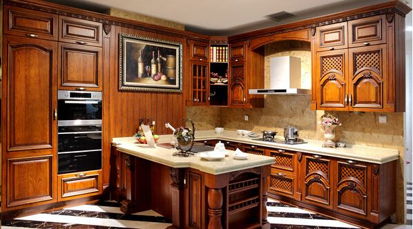 WELBOM European Royal solid wood Cherry Board German Kitchen Cabinets