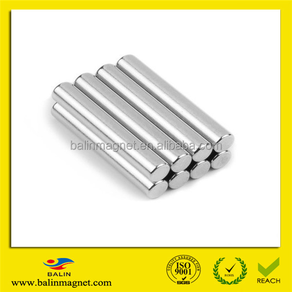 China manufacturer large super strong high grade sintered rare earth permanent neodymium thin rod magnet