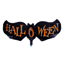 "Aluminium Foil Balloon Halloween Bat Animal Black Orange Message "" Halloween "" Foil Balloons Wholesale"