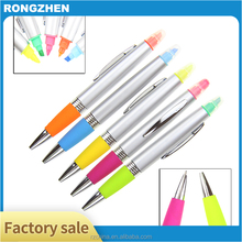 Advertising two tips plastic ball pen highlighter ballpoint pen