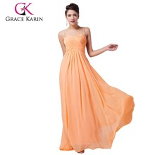 Grace Karin Orange Color Backless Long Chiffon Cheap Mermaid Prom Dress CL6025