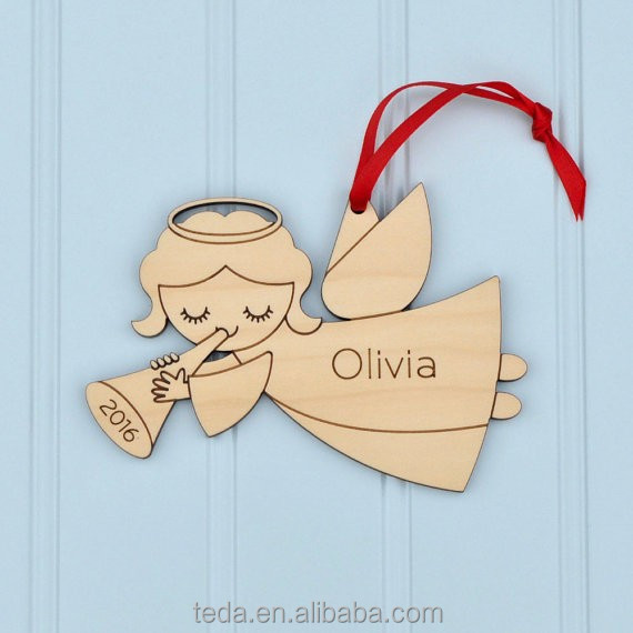 80MM Wooden Angel Kids Crafts Hanging Ornaments Xmas Decoration