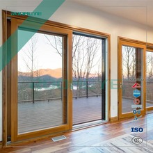 Exterior aluminium wood double glazing tilt & sliding doors with thermal break aluminum profile