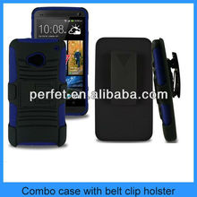 BLACK 3 in 1 RUGGED KICKSTAND HYBRID COVER HOLSTER COMBO BELT CLIP CASE FOR HTC ONE m7(PT-HTCM7203)