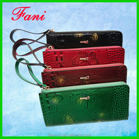 Fashion single zipper genuine leather wallet with butterfly patterns design wallet for women