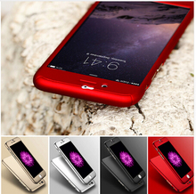 3 in 1 Hard PC Case For Iphone Front Clear Glass Film 360 degree Full Body Cover phone case Coverage