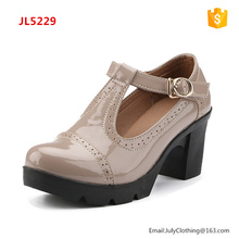 2017 Autumn Women Round Toe T strap Ladies Shoes with Chunky Heel