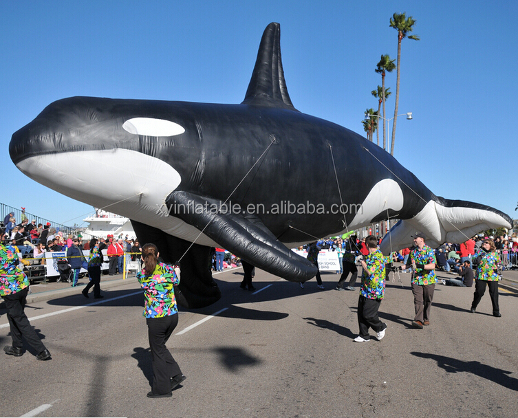 Hot sale custom giant inflatable blackfish shape for advertisement