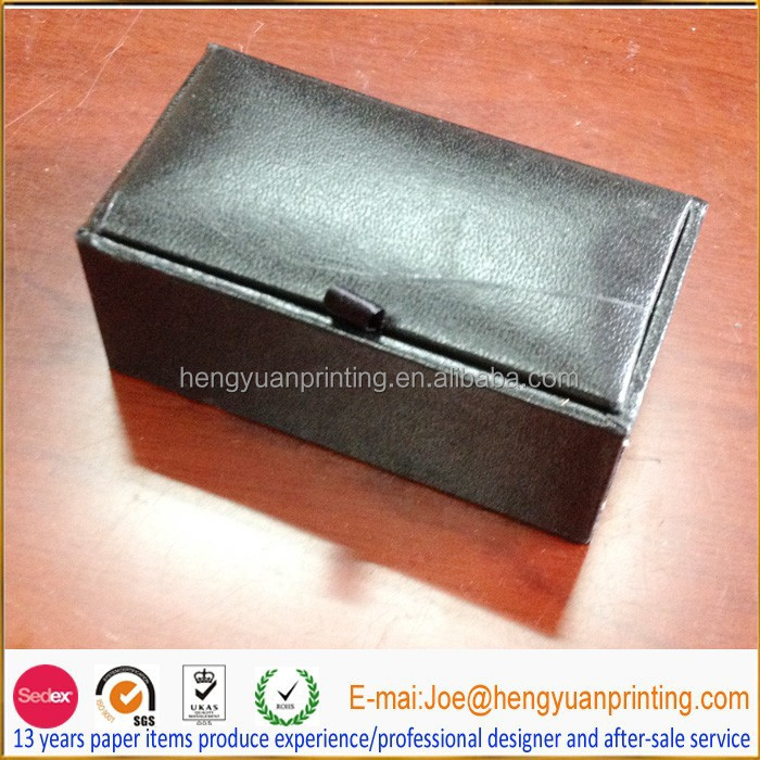 Leather cufflink box/matte black gift box for jewelry packaging with velvet inside tray
