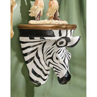 African Striped Zebra Wall Shelf Sculpture Exotic Wildlife Shelf Animal Head Shelf