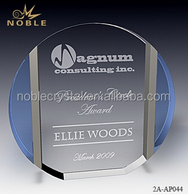 New Design Custom Engraved Color Metal Trilogy Round Crystal Plaque Trophy Plate Award.