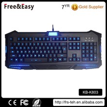 3 color led waterproof usb backlit wired gaming keyboard
