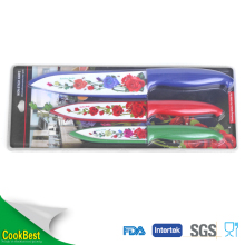 rose flower pattern 3pcs non-stick coating knife set with knife cover