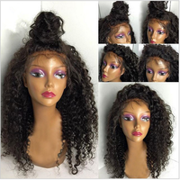 High Quality Virgin Brazilian Human Hair Natural Color Kinky Curl Full Lace Wig with Baby Hair