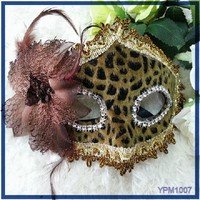 Beautiful Side Flower Feather Carnival Covered Edge Crystal Face Mask Party Sheet