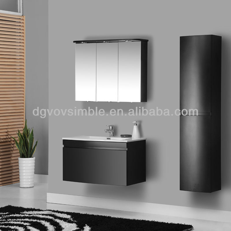 High gloss black bathroom cabinet/ wall hanging bathroom vanities exported to all over the world
