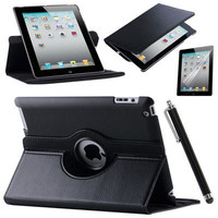 Case Cover For Apple iPad Air 2 iPad 6 (2014) PU Leather Flip Smart Stand 360 Rotating Case Screen Protector Film Stylus Pen