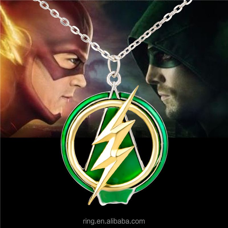 New The Flash And Arrow Pendant Necklace For Men Women Green Yellow Lightning Necklace