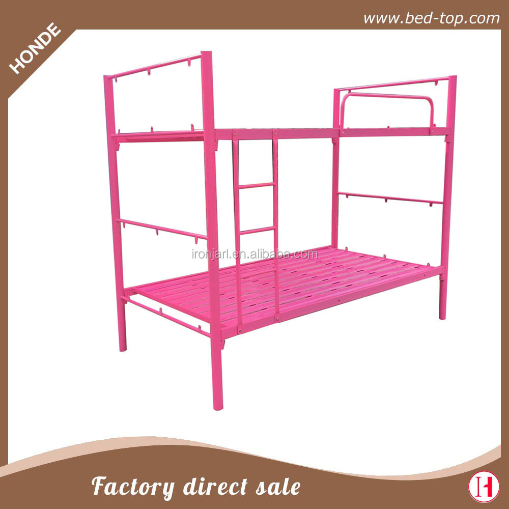 Hello kitty metal bed frame Pink girl style metal single bunk bed for bedroom furniture