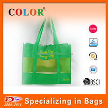 2014 new design recycle mesh screen printing non woven carry tote bag