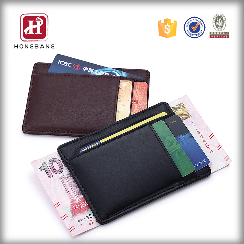 Mens pocket business card holder leather ID case money clip 2015