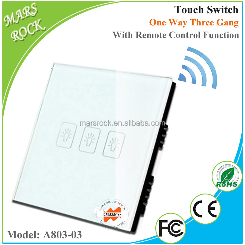 A803-03 Glass Panel Smart One Way Three Gang Wall Touch Switch with Remote in White, Black and Gold Color for Choice