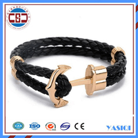 Fashion Jewelry 2016 Wholesale Leather wrap Stainless steel Anchor Bracelet men ,Custom Nautical Jewelry