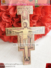 Plywood San Damiano wooden wall crucifix, religious crucifix, religious cross with orthodox icon and hook