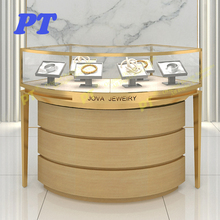 Metal Leg Curved Locking Showcase Cabinet Retail Portable Custom Ring Museum Watch led jewelry glass acrylic display case