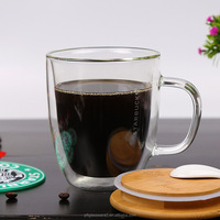 300ml double wall glass thermos tea cup/mug with customized logo printing