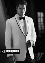 Custom White One Button Formal Mens Wedding Dress Groom Suits Ternos Novio (Jacket+Pants+Bow) WD001 Mans Suits Wedding