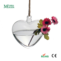 4 inch Clear Hanging Glass Heart Vase decoration