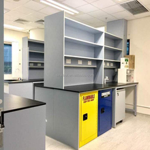 metal wooden and steel student bench used laboratory furniture with universal exhaust hood