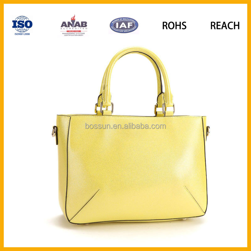 High Quality Women Leather Handbag Shoulder Tote candy color yellow Bag