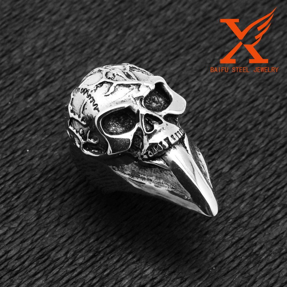 316l Stainless Steel Mens Boys Silver Huge Large Skull Ring Terminator Index Finger Ring