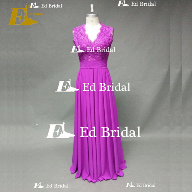 ED Bridal Fuchsia Exquisite Lace Appliqued Keyhole Back Chiffon Long Gorgeous Bridesmaid Dress
