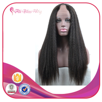 Virgin Brazilian Human Hair Italian Yaki U Part Wig For Black Women Natural Looking African American Kinky Straight U part Wigs