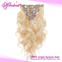 7pcs Curly Clip In Remy Human Hair Extensions Blonde #27/613