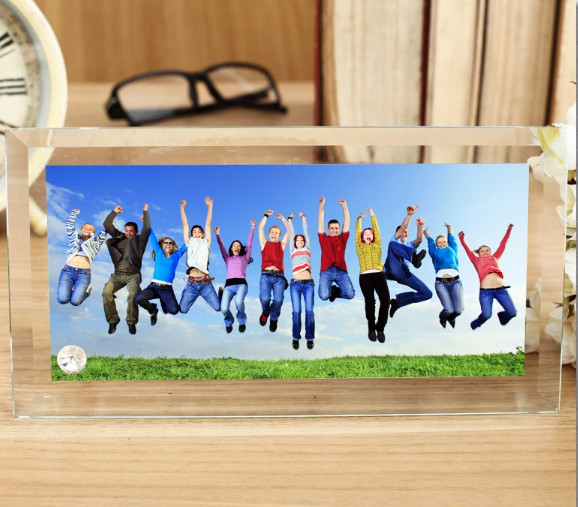 Rounded corners glass crystal photo frame for sublimation printing 230*120*10mm