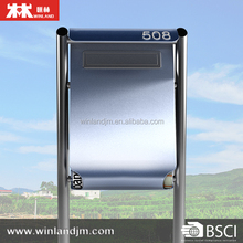 Stainless steel standing mailbox, with rain resistance cappin, volume size, news paper holder at bottom