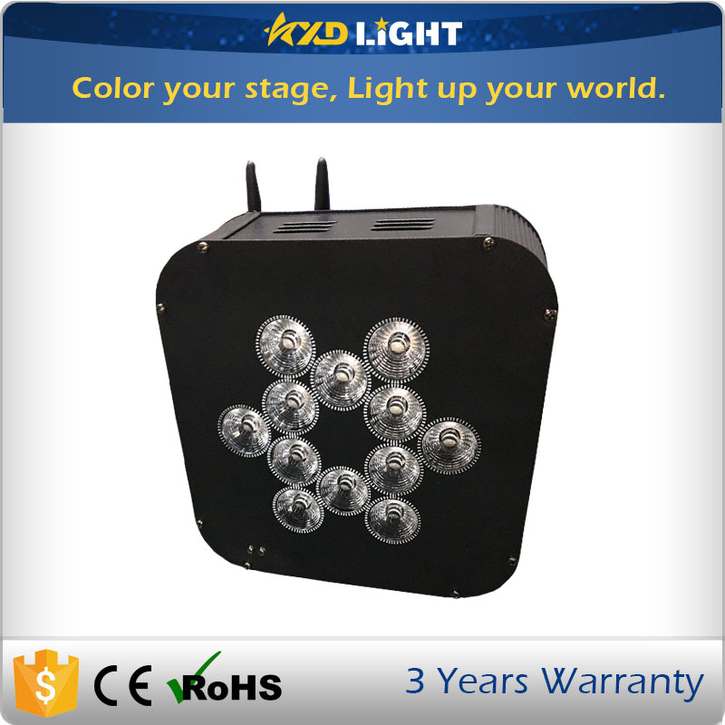 Par can light price 12pcs 15w 6in1 LEDs led par light battery power wireless dmx flat par