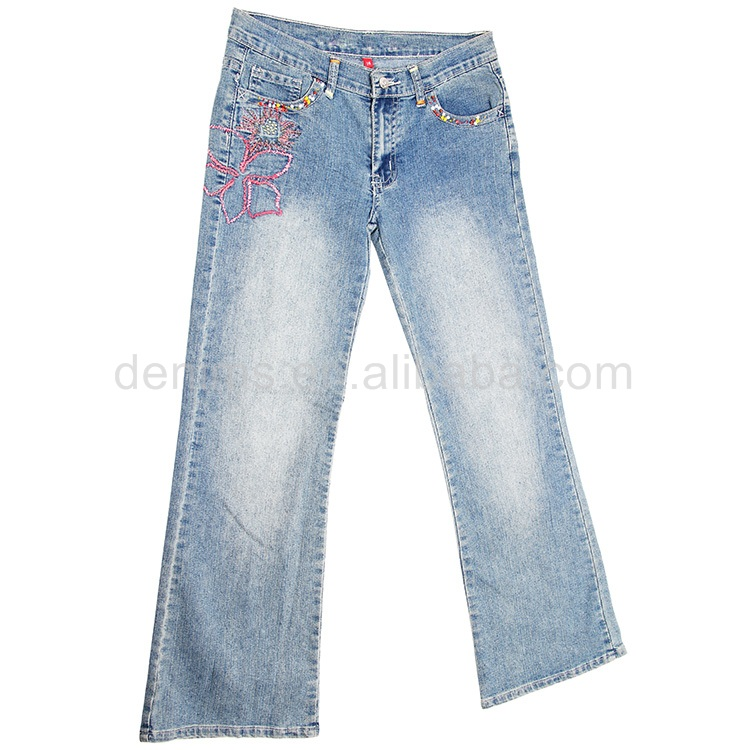 CJ-053-E1 clothes women fashion cotton trousers new design jeans trousers